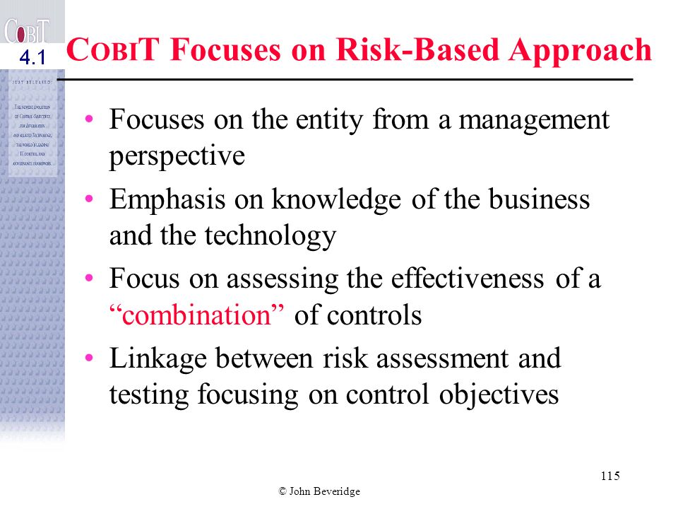 COBIT Focuses on Risk-Based Approach