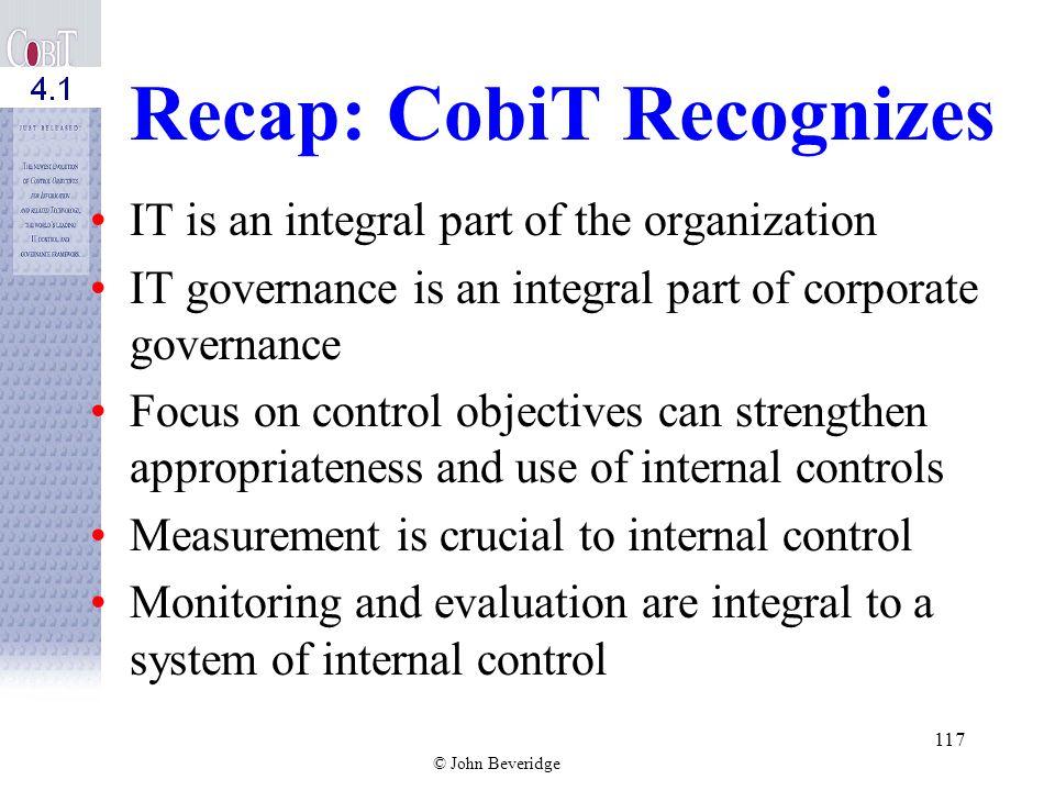 Recap: CobiT Recognizes