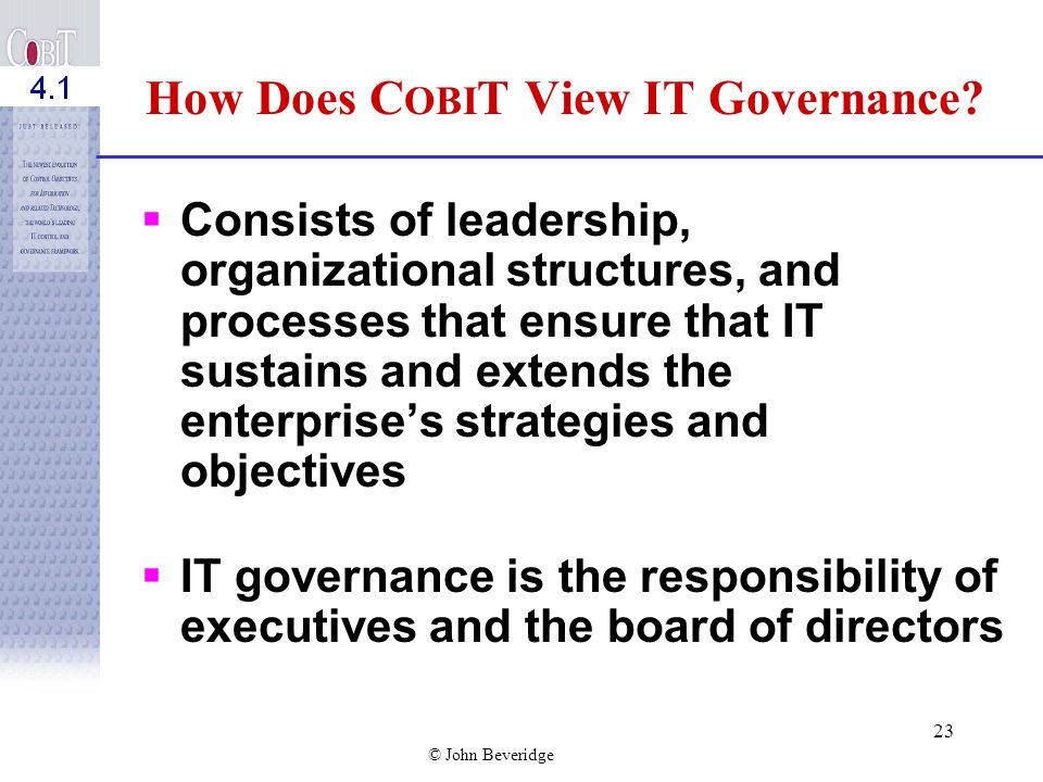 How Does COBIT View IT Governance