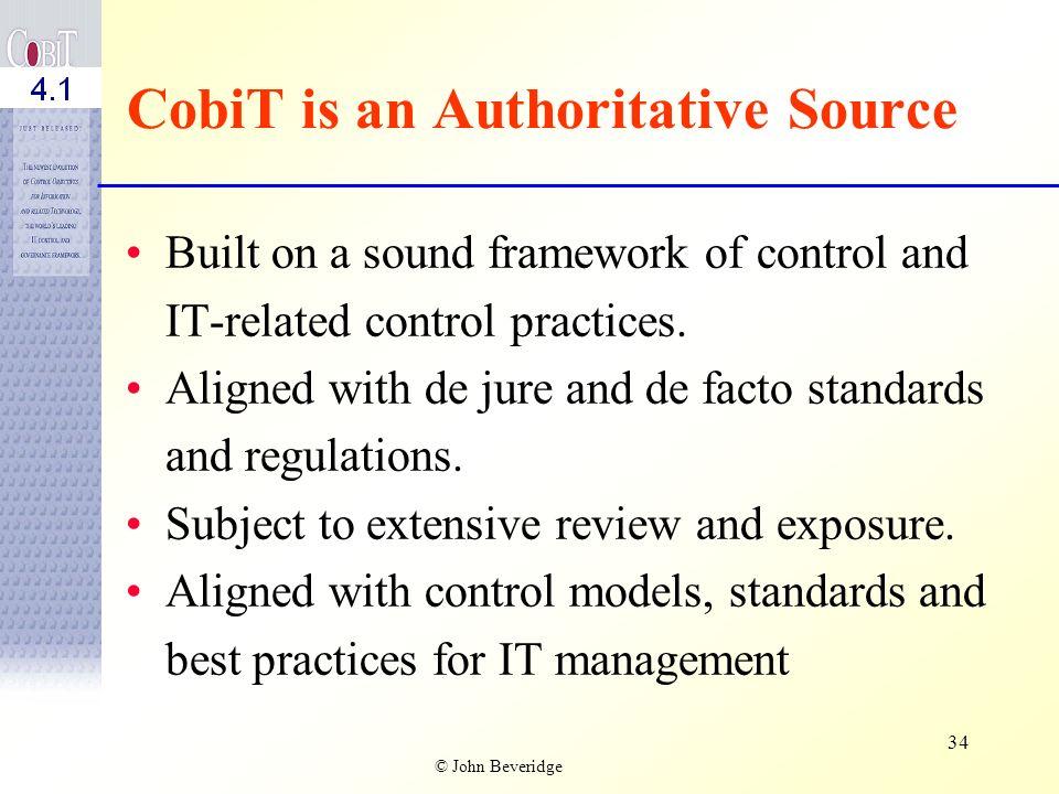 CobiT is an Authoritative Source