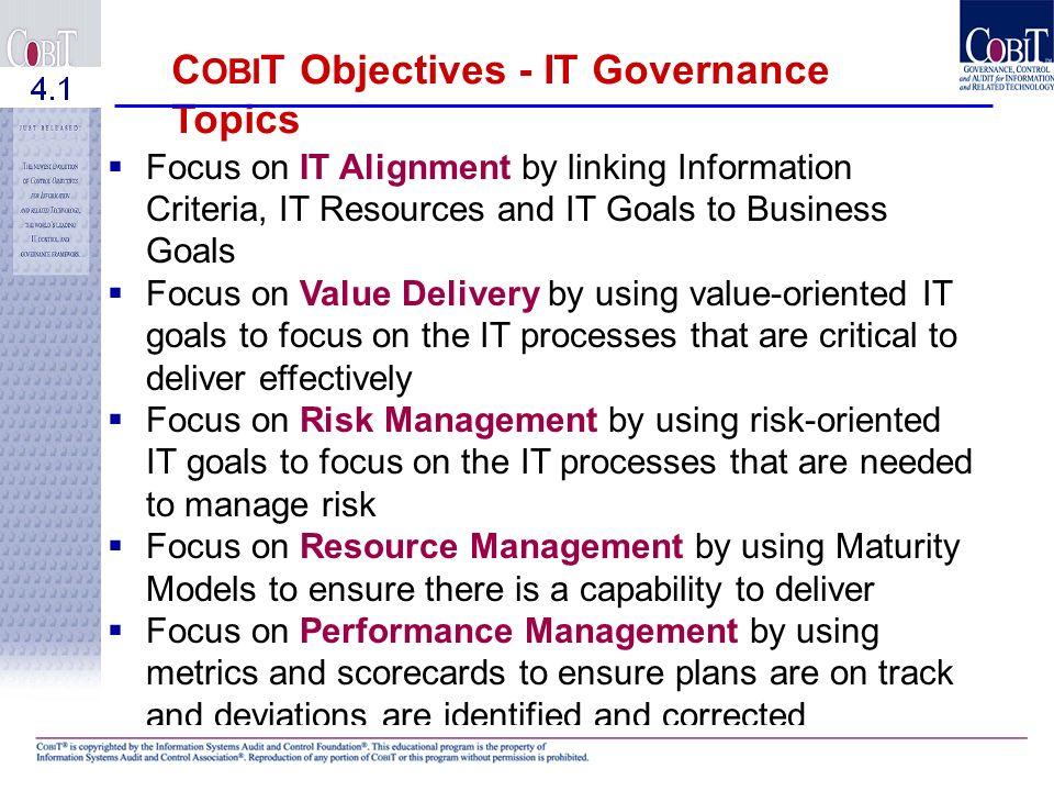 COBIT Objectives - IT Governance Topics