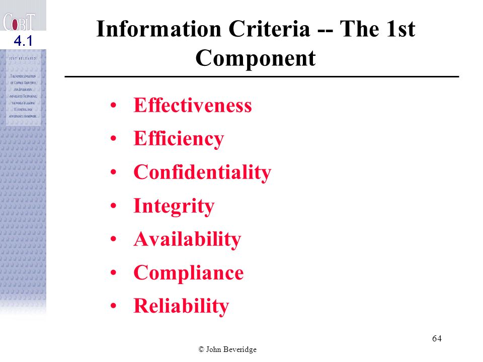 Information Criteria -- The 1st Component