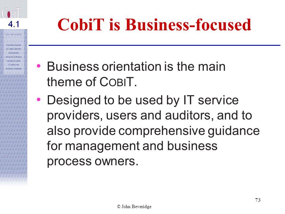 CobiT is Business-focused