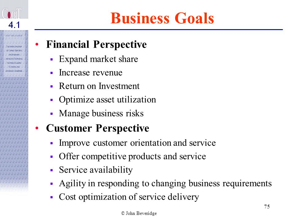 Business Goals Financial Perspective Customer Perspective