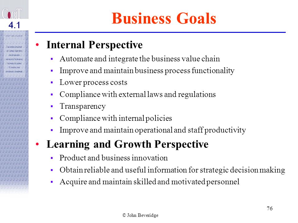 Business Goals Internal Perspective Learning and Growth Perspective
