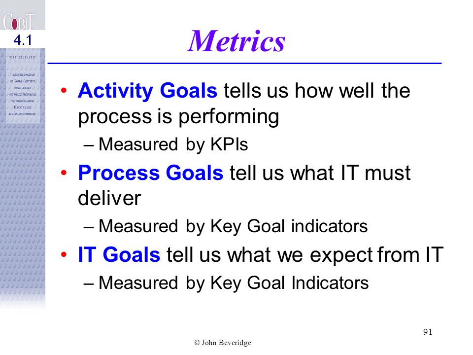Metrics Activity Goals tells us how well the process is performing