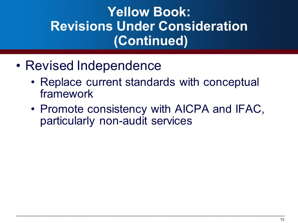 Yellow Book: Revisions Under Consideration (Continued)