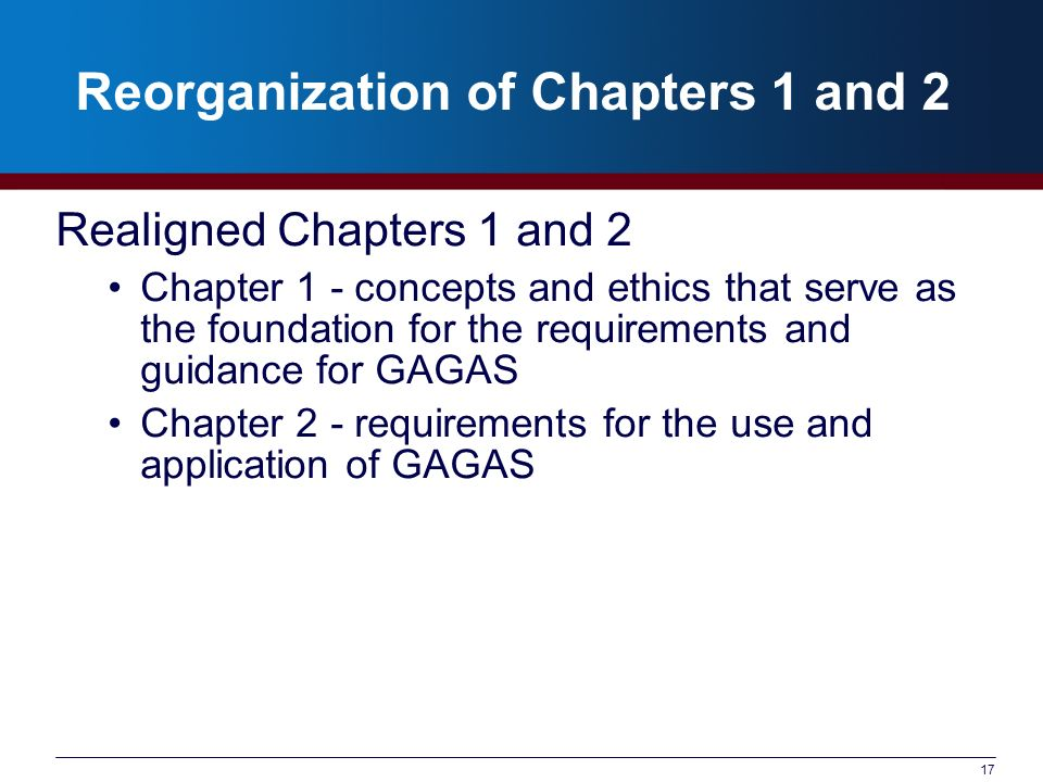 Reorganization of Chapters 1 and 2