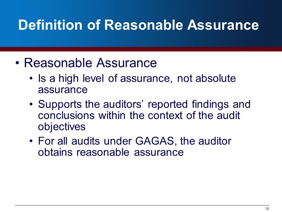 Definition of Reasonable Assurance