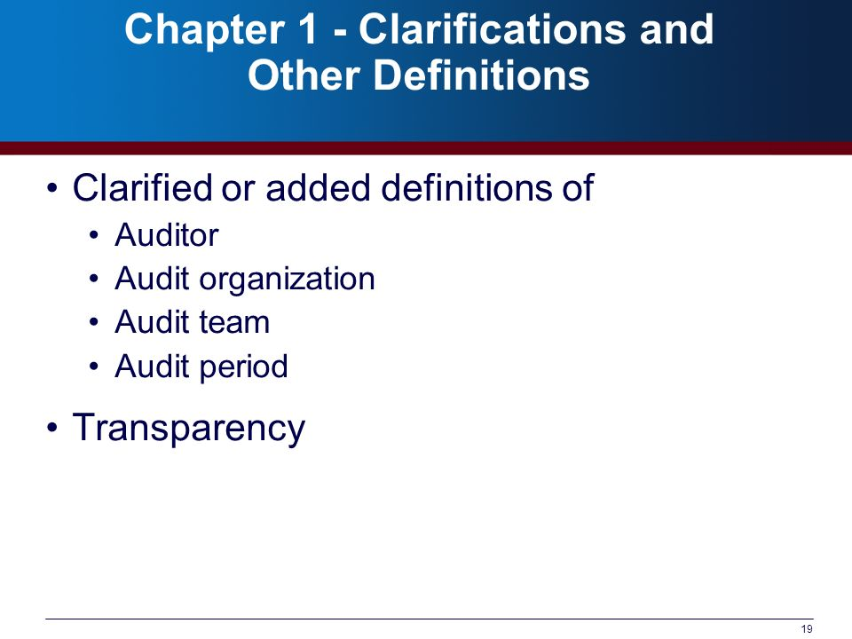 Chapter 1 - Clarifications and Other Definitions