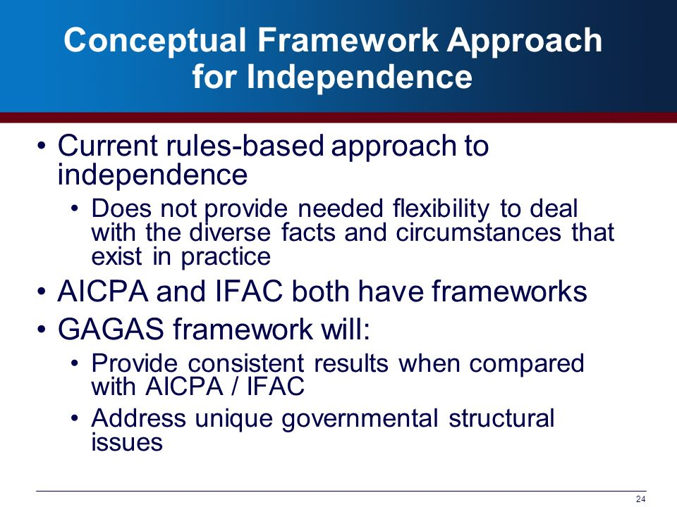 Conceptual Framework Approach for Independence