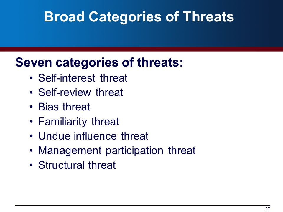 Broad Categories of Threats