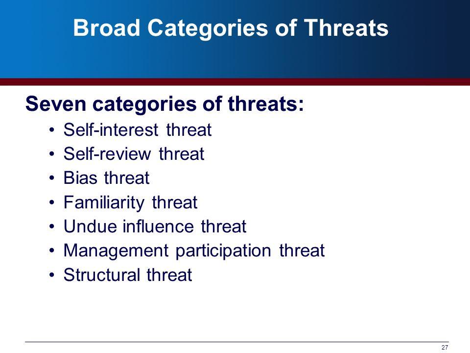Broad Categories of Threats