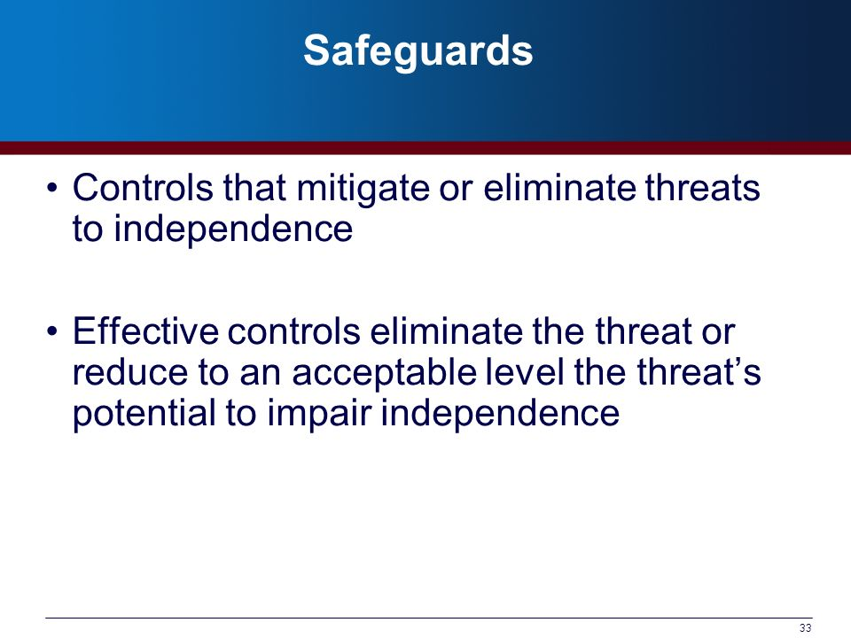 Safeguards Controls that mitigate or eliminate threats to independence