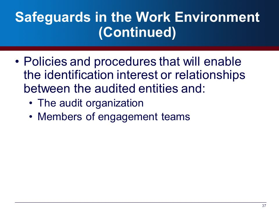 Safeguards in the Work Environment (Continued)