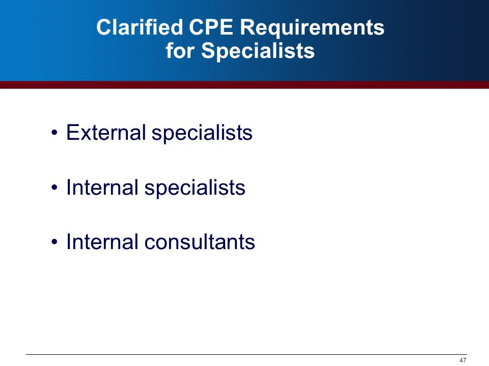 Clarified CPE Requirements for Specialists