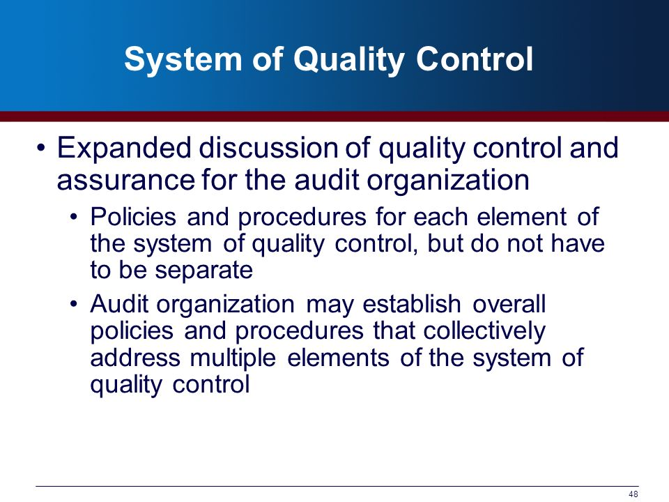 System of Quality Control
