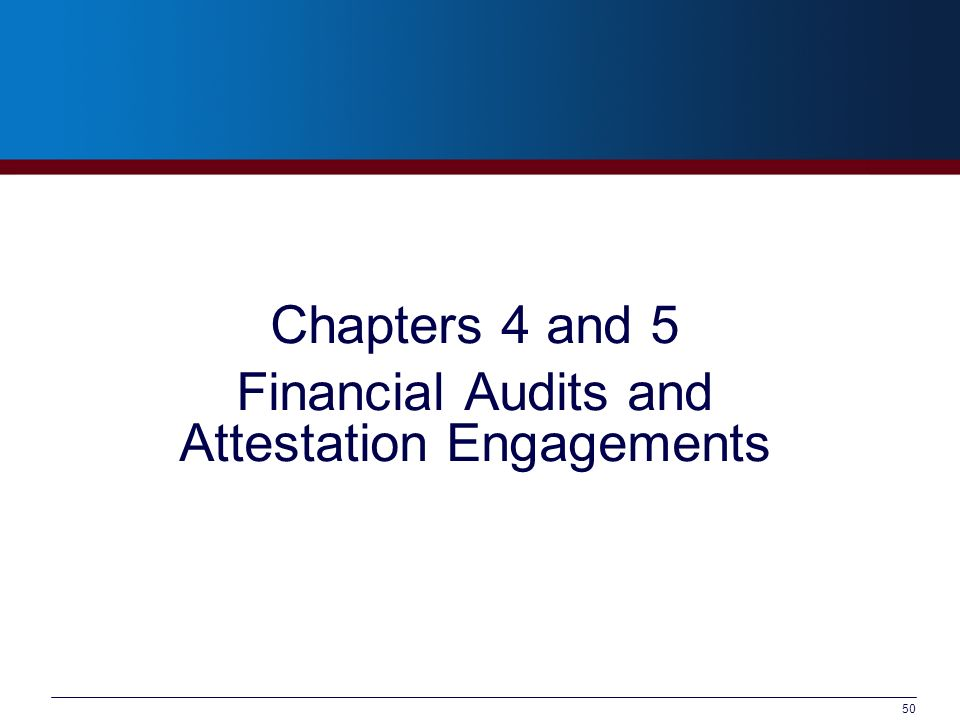 Chapters 4 and 5 Financial Audits and Attestation Engagements