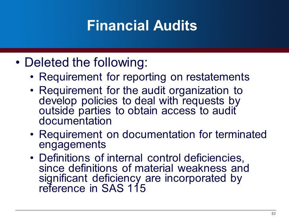 Financial Audits Deleted the following: