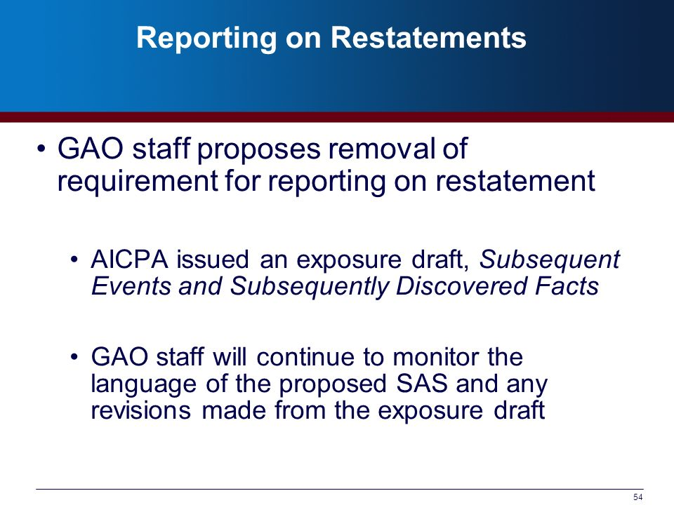 Reporting on Restatements