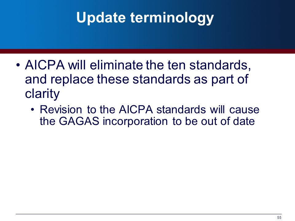 Update terminology AICPA will eliminate the ten standards, and replace these standards as part of clarity.