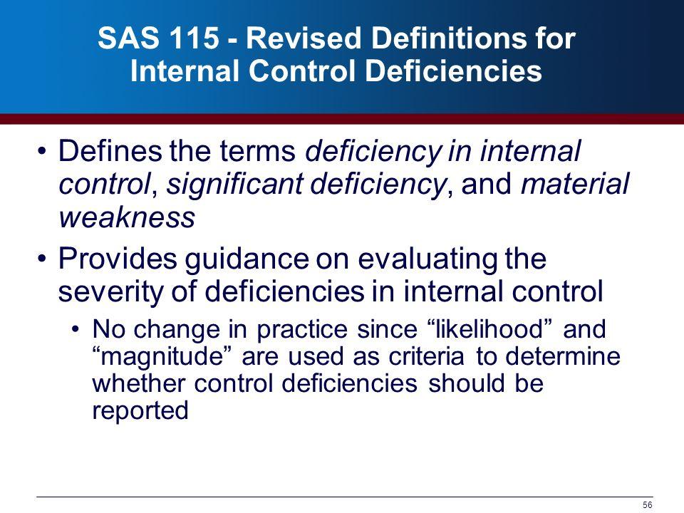 SAS 115 - Revised Definitions for Internal Control Deficiencies
