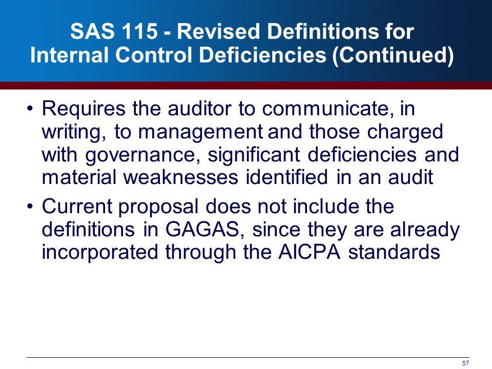SAS 115 - Revised Definitions for Internal Control Deficiencies (Continued)