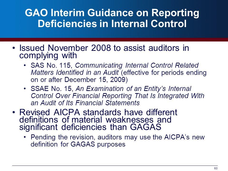 GAO Interim Guidance on Reporting Deficiencies in Internal Control