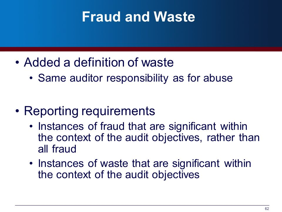 Fraud and Waste Added a definition of waste Reporting requirements