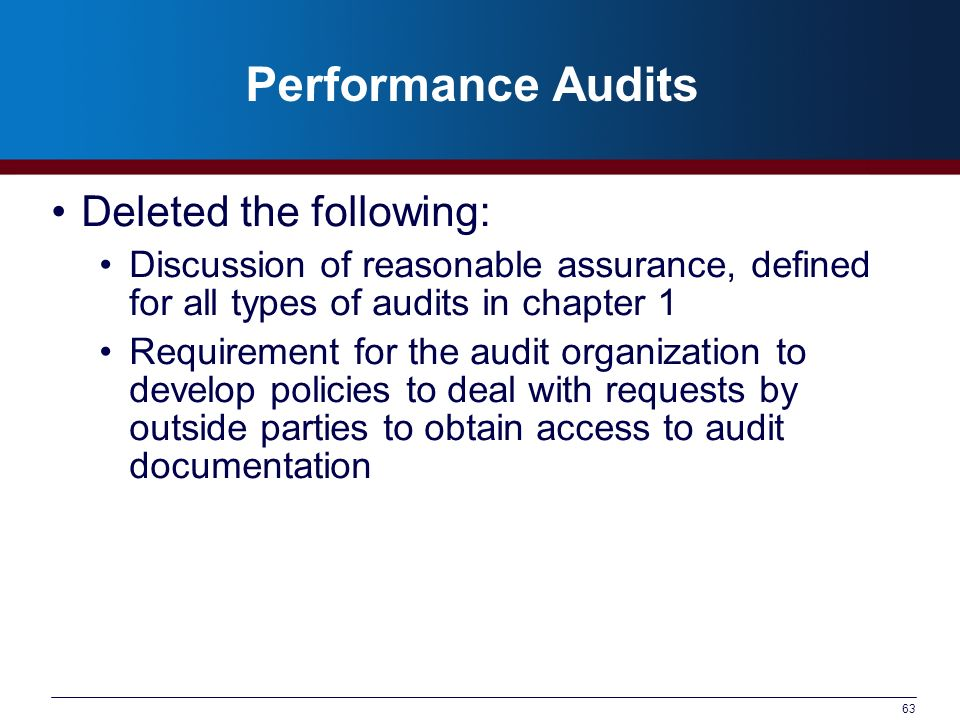 Performance Audits Deleted the following: