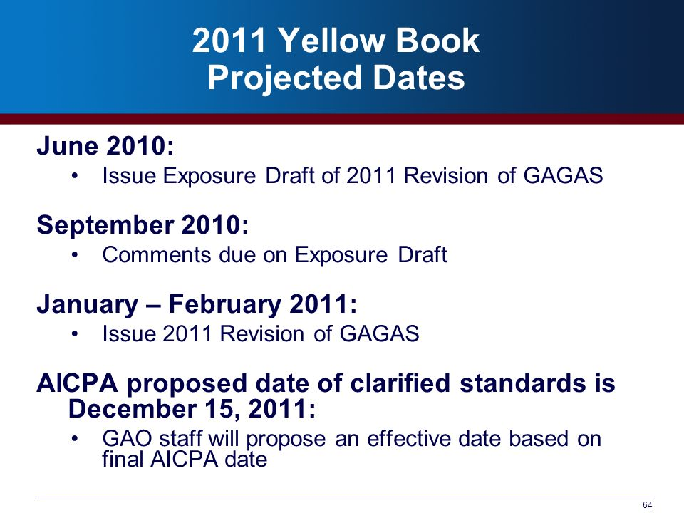 2011 Yellow Book Projected Dates