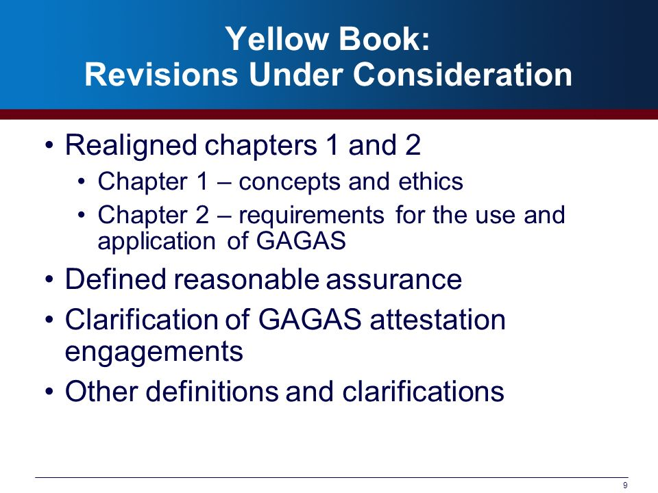 Yellow Book: Revisions Under Consideration