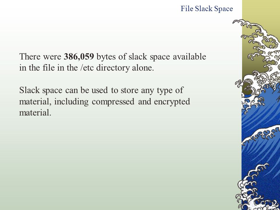 File Slack Space There were 386,059 bytes of slack space available in the file in the /etc directory alone.