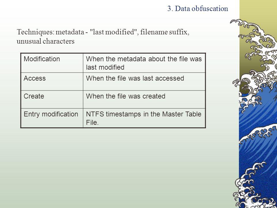 Techniques: metadata - last modified , filename suffix,