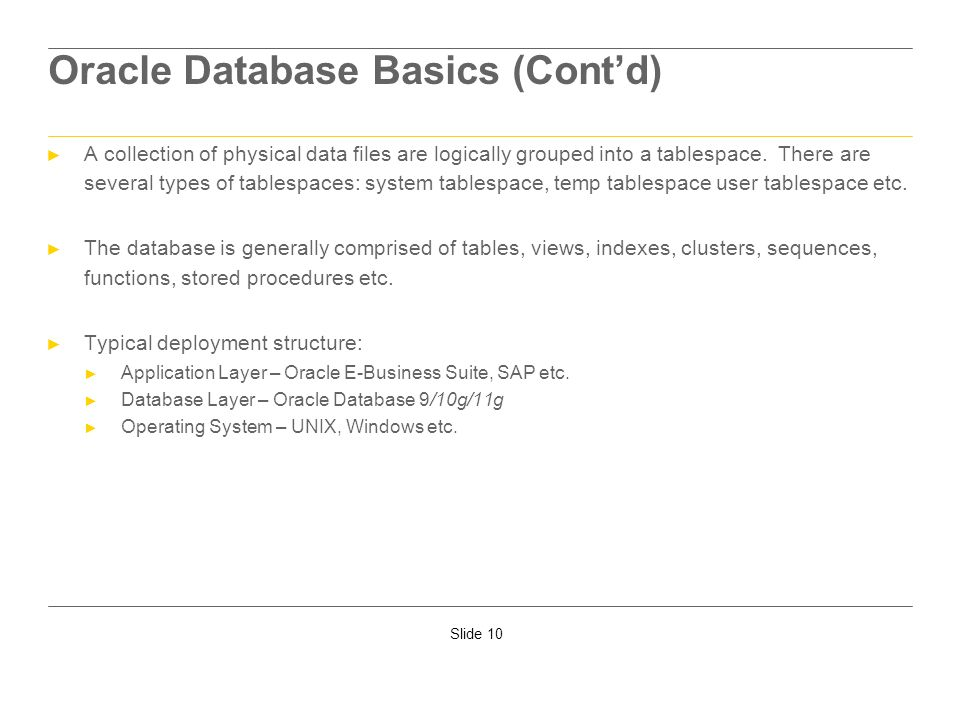 Oracle Database Basics (Cont'd)