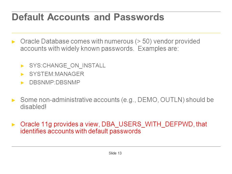 Default Accounts and Passwords