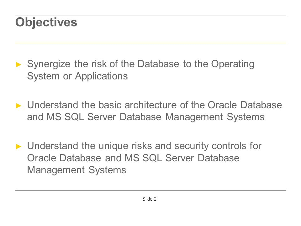Objectives Synergize the risk of the Database to the Operating System or Applications.