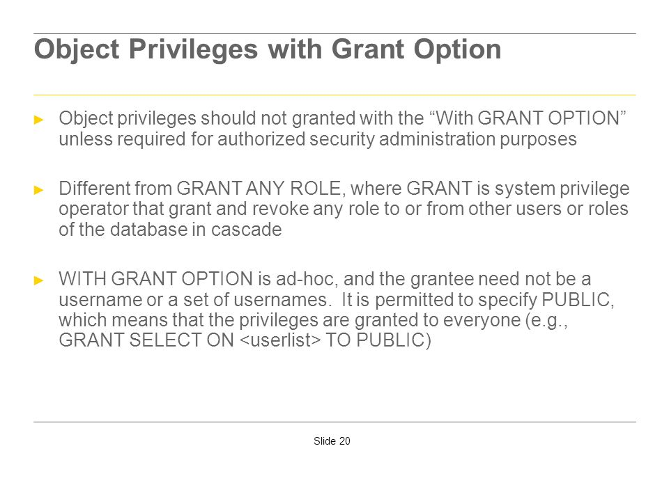 Object Privileges with Grant Option