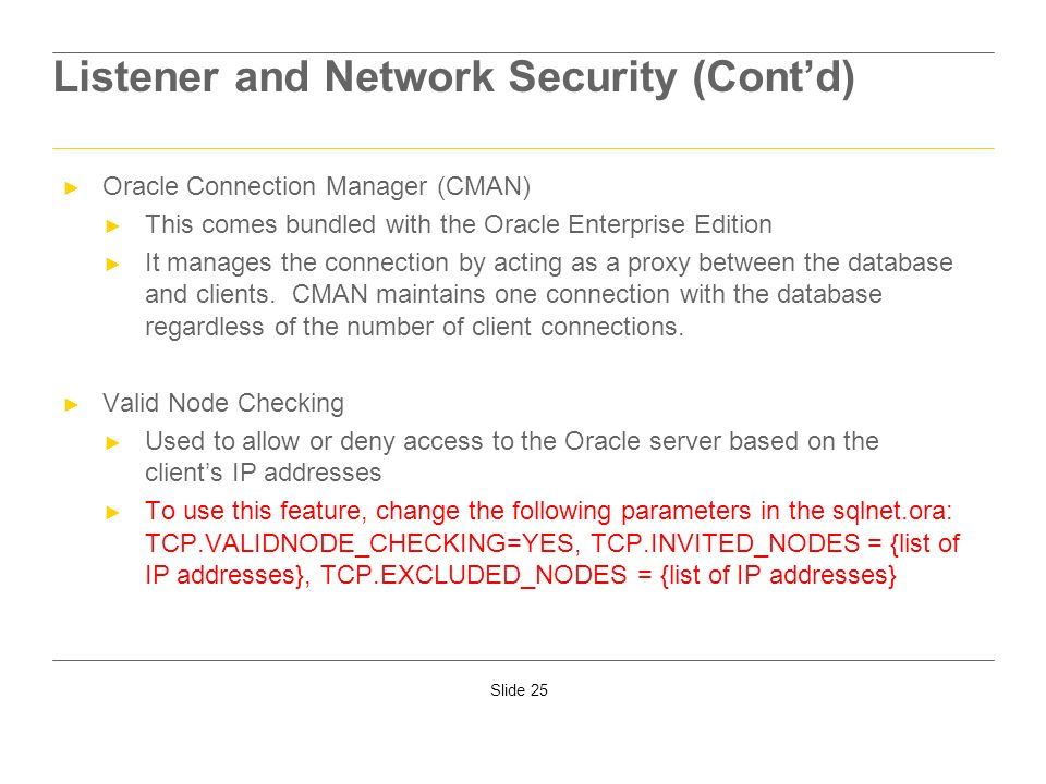 Listener and Network Security (Cont'd)