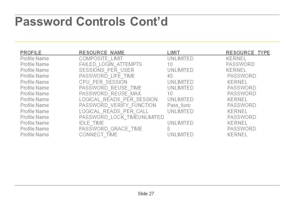 Password Controls Cont'd
