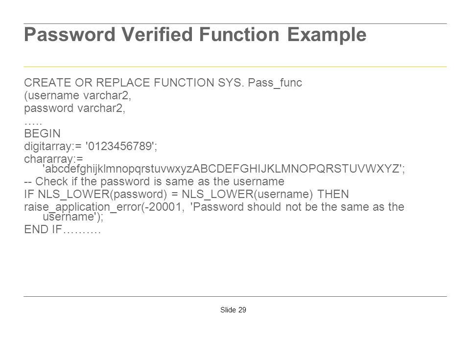 Password Verified Function Example