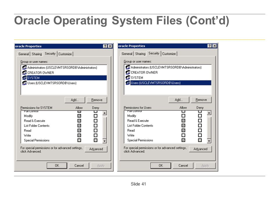 Oracle Operating System Files (Cont'd)