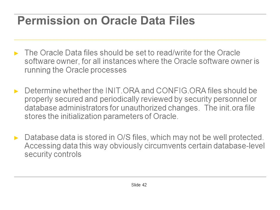Permission on Oracle Data Files