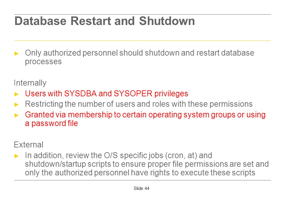 Database Restart and Shutdown