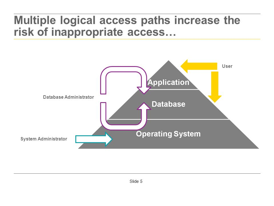 Multiple logical access paths increase the risk of inappropriate access…