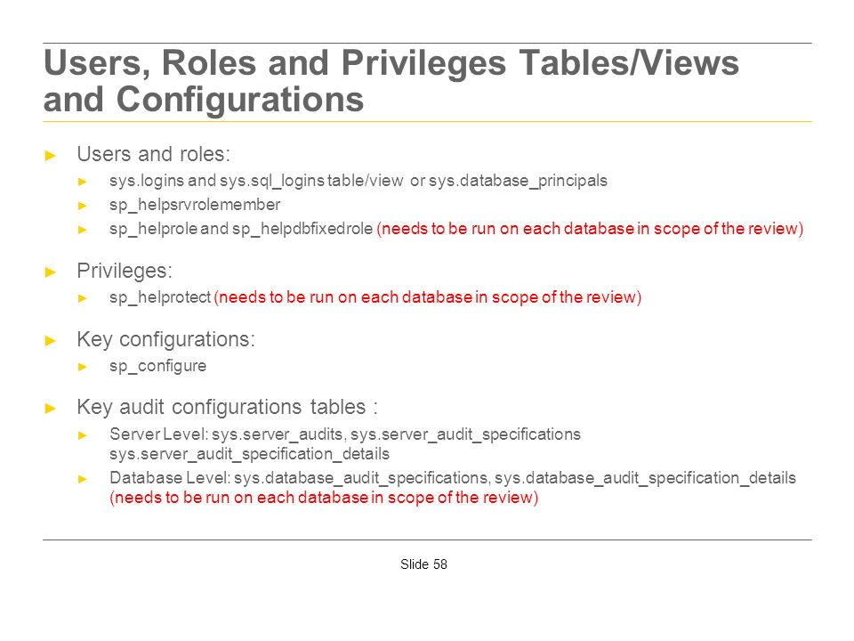 Users, Roles and Privileges Tables/Views and Configurations