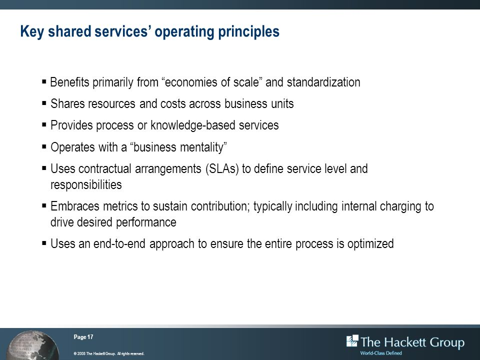 Key shared services' operating principles