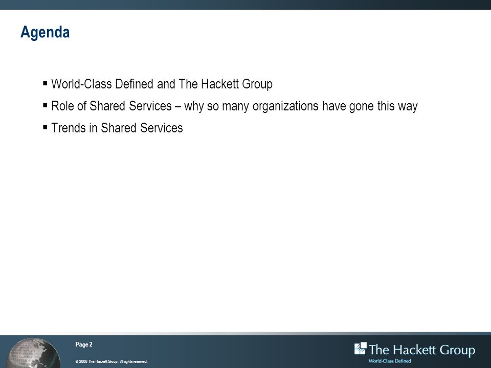 Agenda World-Class Defined and The Hackett Group