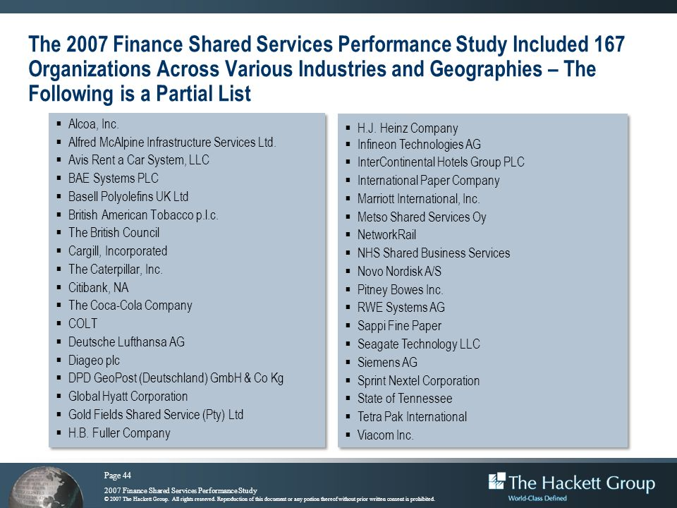 The 2007 Finance Shared Services Performance Study Included 167 Organizations Across Various Industries and Geographies – The Following is a Partial List