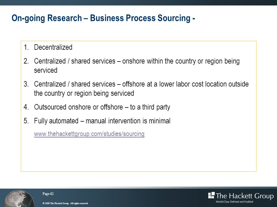 On-going Research – Business Process Sourcing -